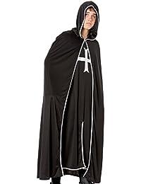 R-Dessous schwarzer Ritter Herren Kostüm Mittelalter Magier Krieger Halloween Kreuz Tempel Ritter Karneval