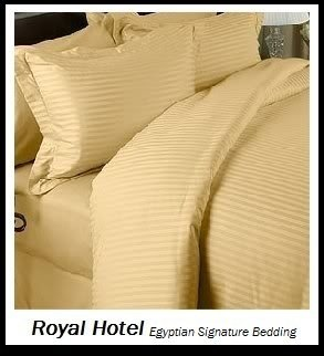 Royal Hotel Stripe 3-Teiliges Full/Queen Tröster Cover (Bettbezug Set) 100 Prozent Baumwolle, 500-thread-count, Satin Gestreift King/Cal-King Gold (Tröster Gold Satin)