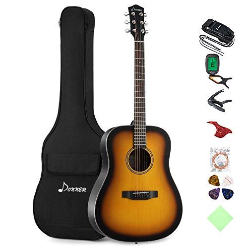 Donner 41 Zoll Sunburst Akustikgitarre Set DAG-1S Anfänger Gitarre Dreadnought mit Gigbag Capo Plektrum Gurt Saiten