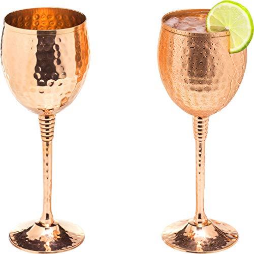 Kupfer Set 2 Rotweingläser - 325 ml Glänzende 100% massives Kupfer gehämmert Wein Tassen Auf Messing Kupfer versilbert Stiele - Tolle Brille für ROT oder weiß Wein und Moscow mule -