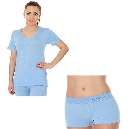 BRUBECK® SET Pigiama della Donna SS11790 + BX10920 (Camicia Manica Corta + Pugili) | Pajamas | Abbigliamento da Notte | MicroModal Air | Un Clima-Regolazione di Comfort | Morbidezza Unico Light Blue