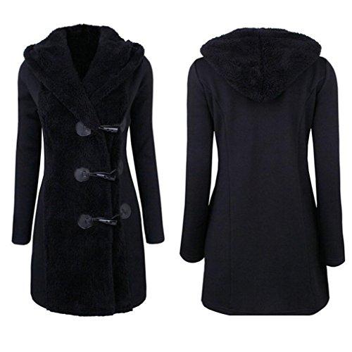 Rawdah Femmes Hiver Plus Épais Boutons chauds Manteau Manteau Parka Outwear Noir