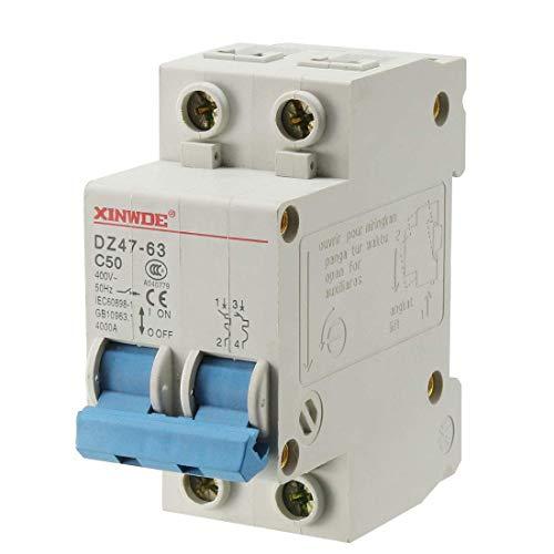 Din Mount Circuit Breaker (ZCHXD 2 Poles 50A 400V Low-voltage Miniature Circuit Breaker Din Rail Mount DZ47-63 C50)