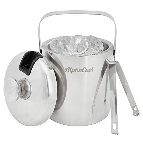 Eiswürfelbehälter mit Deckel und Zange | AlphaCool 1,3l Edelstahl Eiseimer Eisbehälter |...