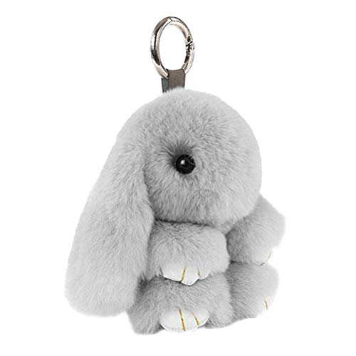STOBOK Llavero con Forma de Conejo de Piel de Conejo Llavero Colgante Pompom Colgante para Celular Bolsa Adorno (Gris Claro, 18 cm)