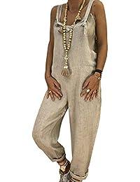 BLACKMYTH Mujer Casual Algodón Lino Suelto Mono Rompers Pierna Ancha  Trousers Largo Pantalones e852c5be7ff