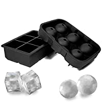 Large Size Ice Maker Hold Silicone Cube Tray and Ball Tray (Set of 2)-Black