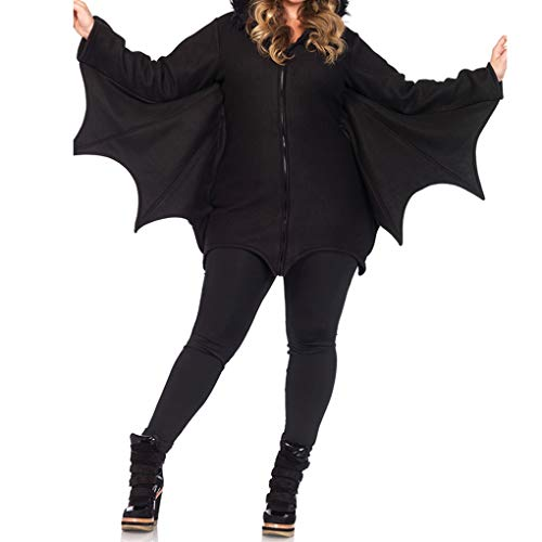 Timlatte Arbeiten mit Kapuze Batwoman Frauen Bat-Kostümtier Cosplay Umhang Spielanzug Halloween-Party-Nachtclub-Overall (Batwoman Kostüm Frauen)