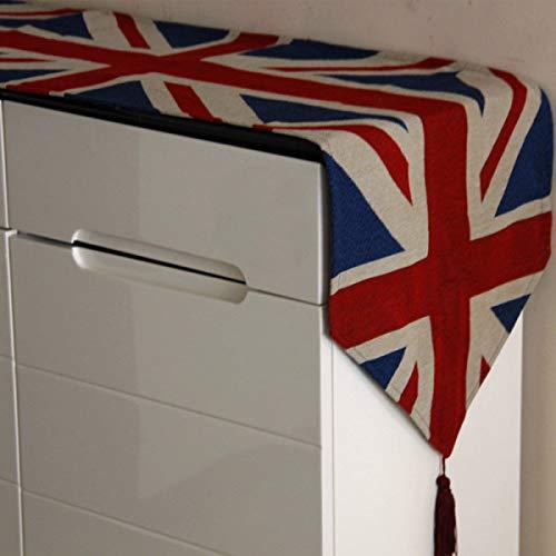 Pingrog Europäischer Läufer Land Tisch Deckt Baumwollstoffe Union Jack Tischtuch Unikat West Tischfahne CAF Eacute S Tischdecke 33 * 195Cm (Color : Colour, Size : 33 * 195Cm)