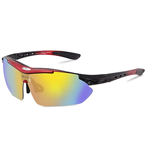 Duco POLARIZED Sports Sunglasses Cycling Glasses Exchangeable 5 Lens UV400 SP0868 Red