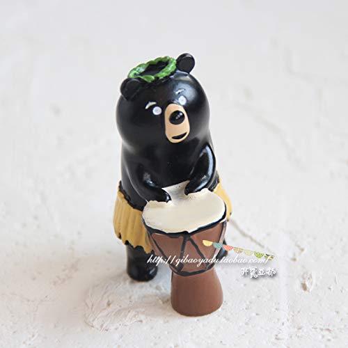 GBYJ Decoracion Seaside White Bear Travel Cat Black Bear Coco Doll Decoración de Auto, Oso Negro Drumming