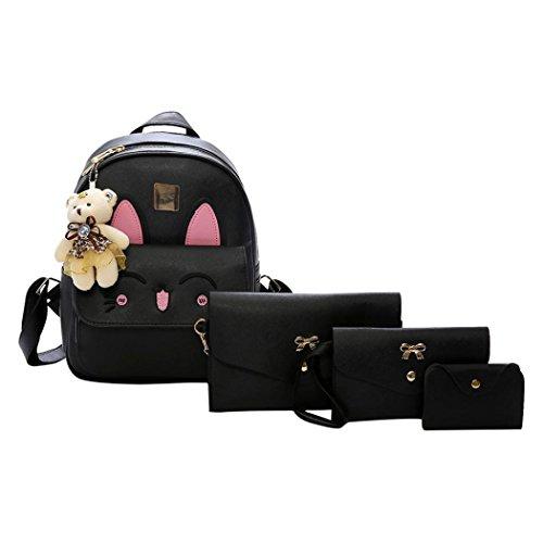 Rucksack Kolylong® 1 Set Drucken Rucksack PU-Leder Mädchen Schultertasche Schulranzen für Studenten College Damen Daypack Messenger Handtaschen Süße Tasche Backpack 4 PCs (Schwarz) -