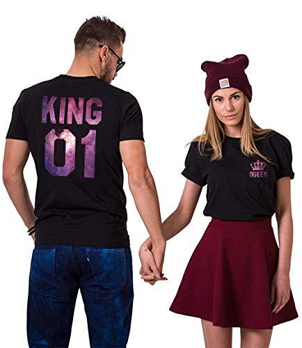 King Queen Shirts Couple Shirt Pärchen T-Shirts Für Zwei Paar Tshirt König Königin Kurzarm 2 Stücke, Sky-schwarz, KING-L+QUEEN-M