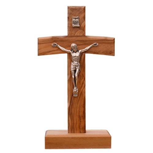Kruzifix stehend - Standkreuz Stehkreuz Holz - Kreuz auf Sockel Olivenholz, Korpus Metall, 15cm