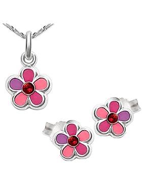 CLEVER SCHMUCK-SET Silberne Ohrstecker Blume rosa pink lila lackiert glänzend mit Zirkonia rot und passender Anhänger...