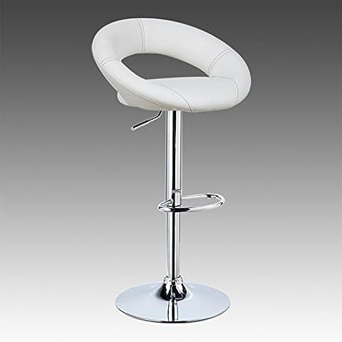 WOLTU 1 Tabouret de bar avec poignée réglage en hauteur,tabouret en cuir artificiel avec siège bien rembourré,Blanc 9199-1-a