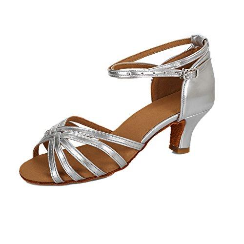 Vashcame - donna scarpe da ballo latino/sala da ballo/standard tacco 5cm/7cm argento 38 (tacco-5cm)