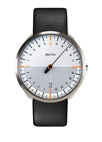 Botta-Design UNO 24 Titan Herren-24H-Einzeigeruhr Analog Schweizer Quarzwerk mit Lederarmband 420000 (40 mm, Weiß/Orange)
