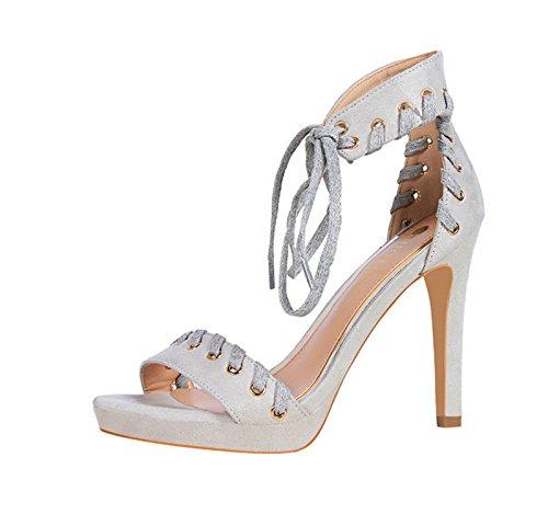 XINJING-S Bowknot High Heels Schuhe Party Hochzeit Frauen Pumps Heels OL Kleidung Schuhe Sandalen Grau