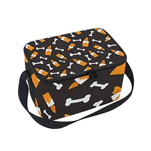 Alinlo Lunch-Tasche, Halloween-Kerzen-Muster, Reißverschluss, isolierte Kühltasche, Lunchbox, Essen Vorbereitung, Handtasche für Picknick, Schule, Damen, Herren, Kinder
