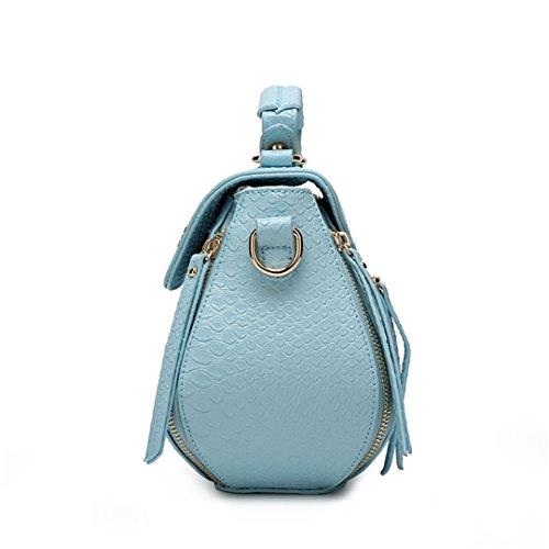 Wewod nouveau crocodile modèle sac à main fashion femme moto sac bandoulière Bleu