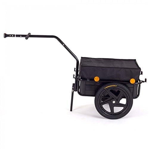 SAMAX Transportanhänger Fahrradanhänger Lastenanhänger Fahrrad Anhänger Handwagen mit Kunststoffwanne für 60 Kg / 70 Liter in Schwarz - 2