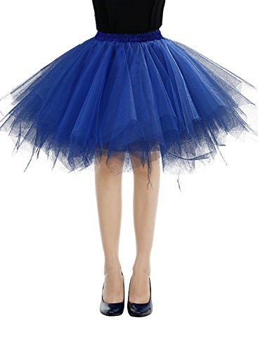 Bbonlinedress Kurz Retro Petticoat Rock Ballett Blase 50er Tutu Unterrock Royal Blue XL (Rock Royal Blau)