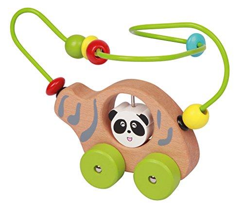 Lena 32046 - Holzspielzeug Helikopter Panda Bär, Heli mit Motorikschleife, Hubschrauber aus Holz mit Motorik Elementen, Motorikspielzeug und Greifling für Kinder ab 18+ Monaten, ca. 16 x 11 x 18,5 cm