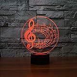 3D des notes de musique LED Lampes Art Déco Lampe la couleur changeant lumières...