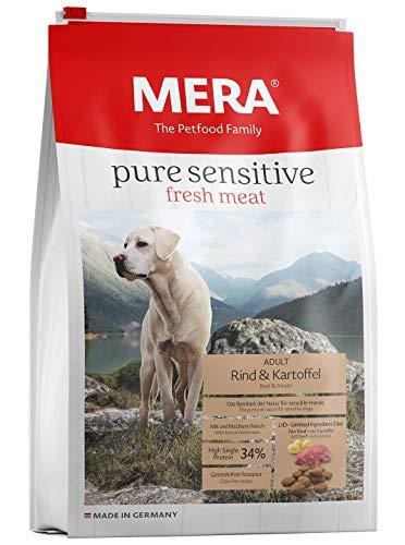 MERA pure sensitive fresh meat Adult Rind und Kartoffel Hundefutter - Trockenfutter für Hunde mit einer Rezeptur ohne Getreide und 40{756def18fae1c2f6cc14bc82d9147e667a15a78dcffaafe20732a806a79b0e5f} Frischfleisch