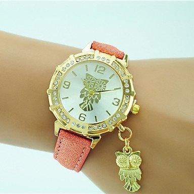 Fashion Watches Schöne Uhren, Damen Modeuhr Armbanduhr Quartz Strass Leder Band Bequem Eule Schwarz Weiß Blau Orange Grün Gold Rosa (Farbe : Golden)