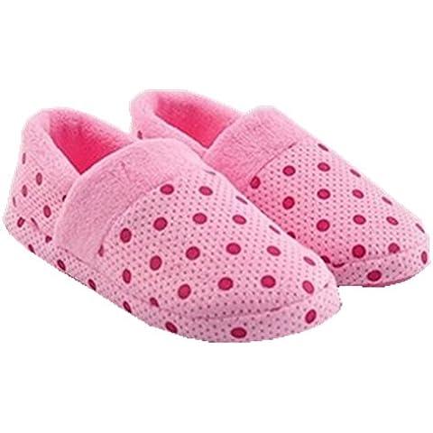 Peluche calda molle delle donne Kasit Comfort Sole pantofole coperta No-scivolo pattini piani di inverno pelliccia Dot - Rosa XL