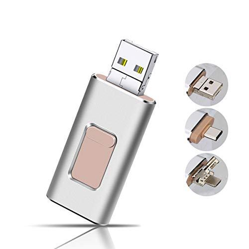 Apple Mac Usb (USB Stick 32GB Flash Speichererweiterung USB 3.0 Externer Speicherstick Flash Laufwerk Drive für Apple iOS iPhone iPod iPad Handy OTG Type C Andriod Computer Mac Laptop PC (Silber))