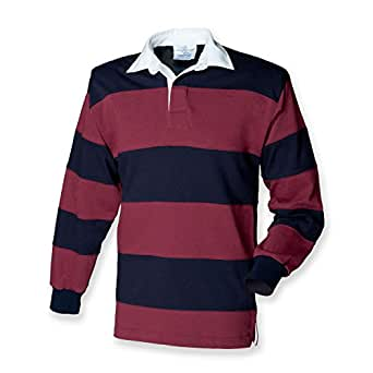 dffdc55b834 Front Row Mens Sewn Stripe Rugby Shirt: Amazon.co.uk: Clothing