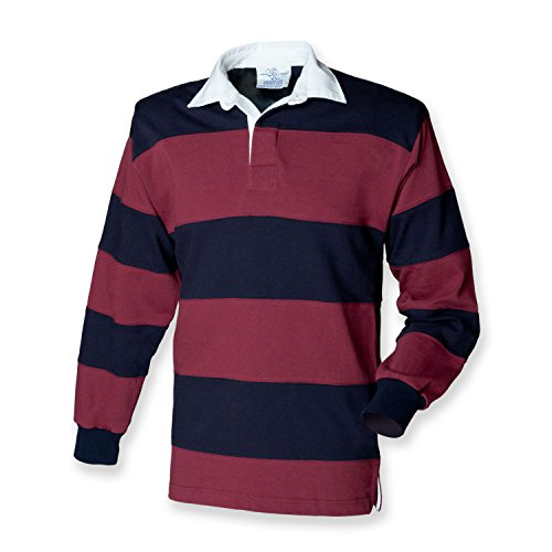 Front Row Kurzarm Patch Rugby Shirt, vers. Farben Burgundy/Navy