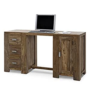 sam schreibtisch palisander holz 160 cm 3 schubladen na 11a tisch vollholz massiv massivholz. Black Bedroom Furniture Sets. Home Design Ideas