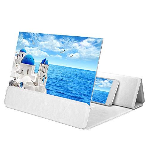 Lazmin 12-Zoll-Bildschirmlupe, HD-Video-Handy-Verstärker Smartphone Stand Bracket(Weiß)