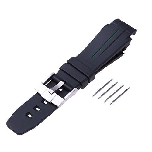on Armband Unisex 21mm Uhrenarmband Band mit Ersatz Edelstahl Schnalle - Schwarz ()
