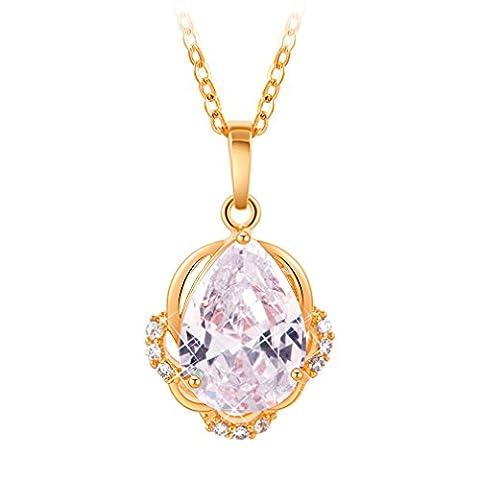 YAZILIND 18K Gold überzogenes weißes Wasser Tropfen hängende Halskette für Frauen Geschenk Set