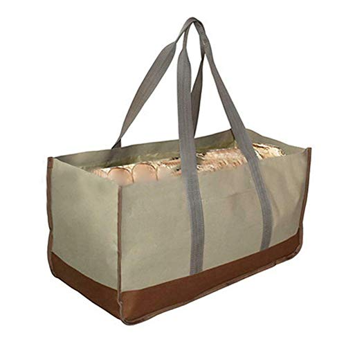 Leobtain 600D Oxford Cloth Tote Bag Carrier Indoor Fireplace Firewood Totes Holders Round Woodpile Rack Fire Wood Carriers Carrying for Outdoor Tubular Birchwood Stand by Hearth Stove Tools Set Basket - Feuer Quilt