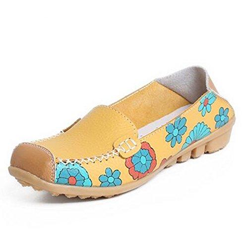 Newbestyle Femmes Chaussures Plates Chaussures Cuir Souple Imprimées Confort Pour Le Printemps et L'automne