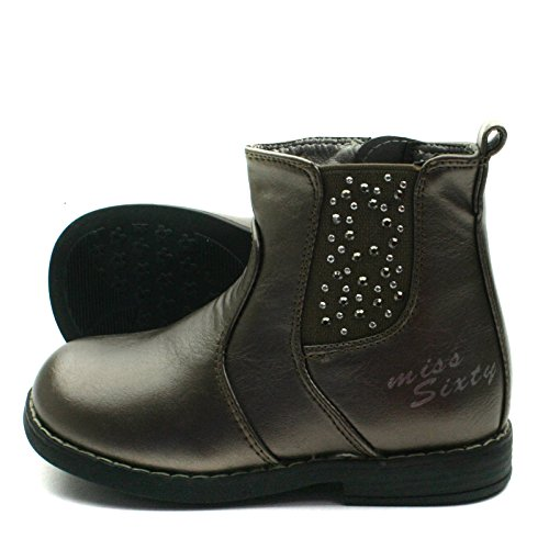 MS013 Miss Sixty Chesea Baby Boot with Studding Detail Mid Calf for Girls >      > Chelsea bébé mi botte avec détail bonnettes pour les filles Bronze Gold (or)