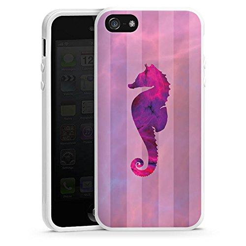 Apple iPhone 5 Housse étui coque protection Hippocampe Rose vif Été Housse en silicone blanc