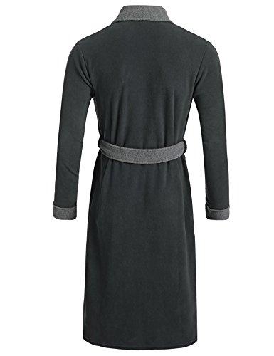 Bademantel Für Herren Winter Lang Patchwork Robe Nachtwäsche mit Gürtel Dunkelgrau