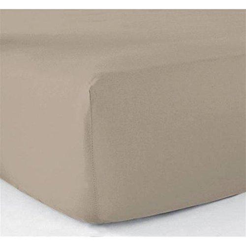 Vandenhove Linge De Maison Drap housse160 x 200 tissage serré Bonnet de 25 CM 100% coton (Taupe)