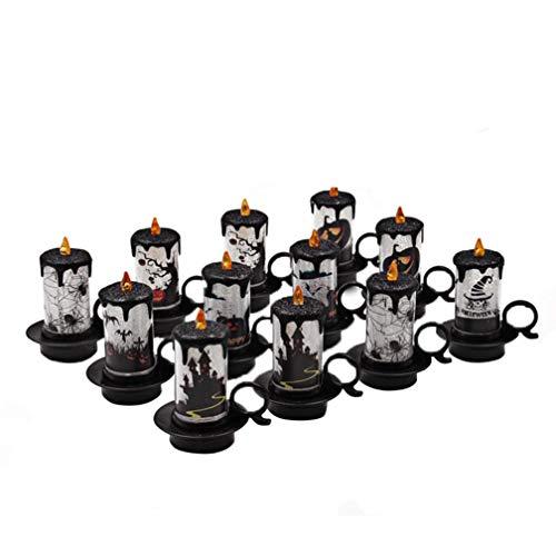 MMLC 12 Stück Halloween Kerze mit LED Teelicht -