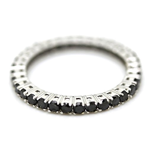 1,00 Karat Black Diamond Claw Set Full Eternity Ring, Weiß Gold (Black Diamond Ringe)