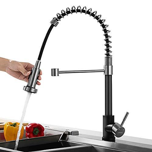 Lonheo Rubinetto Cucina Monocomando Miscelatore per Lavello da Cucina Getti e Doccia 360° di Rotazione Acciaio Inox Nero