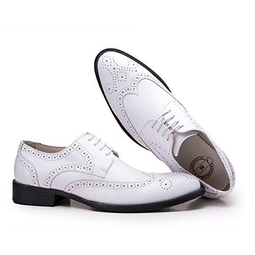 GRRONG Herren Lederschuh Geschäfts-formales Kleid Bequemer Breathable White
