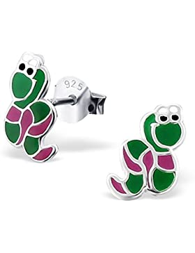 Bungsa© Kinder-Ohrstecker grüne Schlange .925 SILBER (Ohrringe Echtschmuck Studs Ohrschmuck Jungen Mädchen)